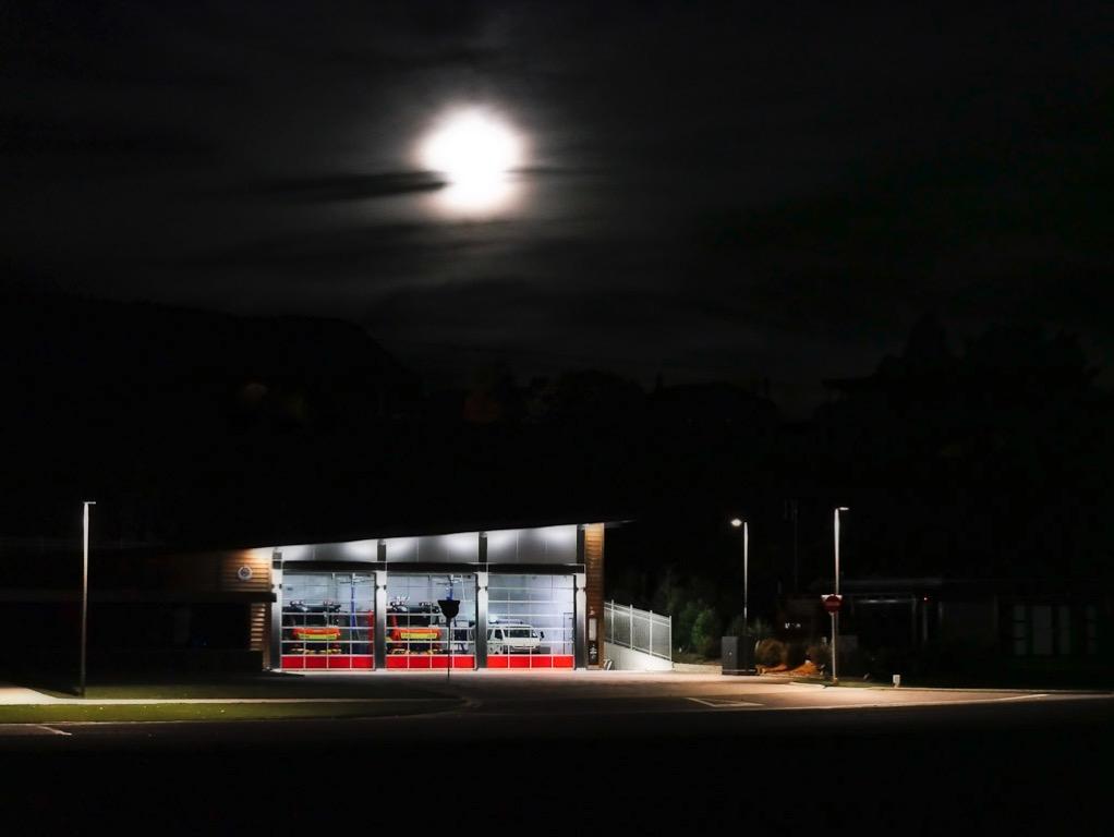 Wanaka Fire Station and full moon