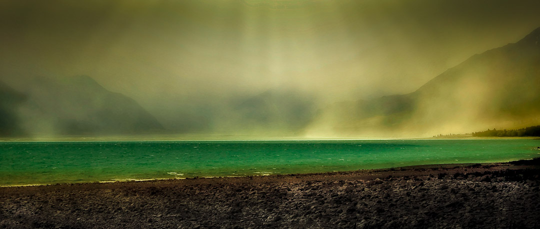 dust storm tasman river delta, mt cook national park