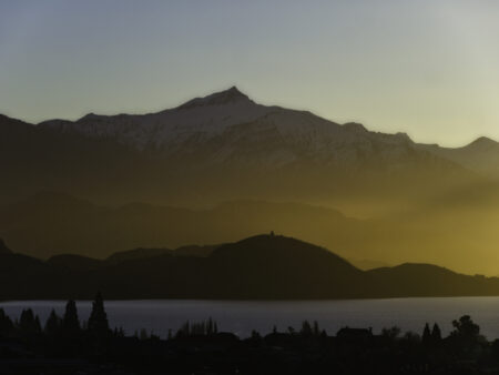 Lake Wanaka winter sunset glow