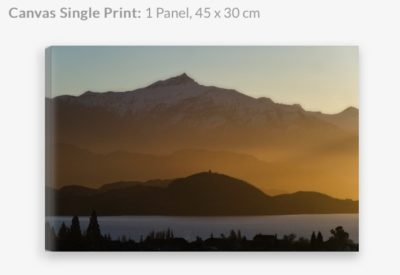 Canvas print of Lake Wanaka winter sunset glow