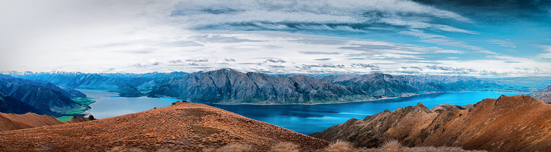 Lake Hawea on the left, Wanaka on the right,  from near the top of Isthmus Peak